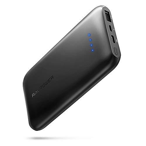 RAVPower 10000mAh Powerbank USB C Ultradünne Externe Akku für iPhone XS Max, XR, iPhone X / 8/7 / 6S / 6, Huawei Handy, Samsung S8, S9 und iPad Air usw. (Schwarz)