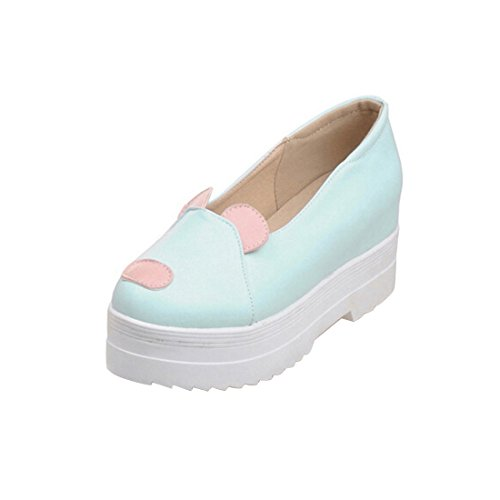 High-top Round Toe Casual Diestmaedchen Schuhen Lolita Pumps Herbst Fruehling Wedge Platform Pumps Spring Shoes Plateauschuhe Cosplay Shoes fuer Hochzeit Tanzenball Maskerade,39,Lightblue (Cosplay Shop)