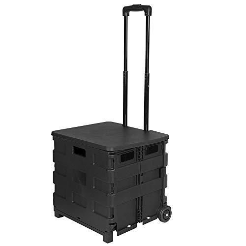 E-starain Einkaufstrolley Einkaufswagen 64 L klappbar bis 35kg, Einkaufstransportwagen Klappbox Shopping Trolley Faltbox mit Rollen,Schwarz