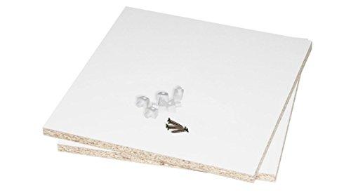 Rückwand für Ikea Kallax Regal / Kallax Fach schließen u. stabilisieren / 2 Stück für 2 Kallax Regalfächer (inkl. Teile f. die einfache Montage) Regalrückwand 33,5 x 33,5 cm beidseitig weiß