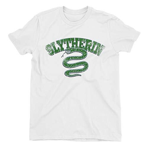Harry Potter Distressed Slytherin Snake Ladies White T-Shirt