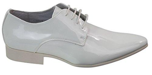 Hommes lacets intelligents cuir doublé Chaussures de soirée de mariage italiennes ont verni brillant Blanc