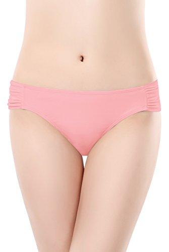 SHEKINI Damen Rüschen Bikinihose Wassersport Bikinislip Unifarben Gerafft Höschen Hipster (Small, Rosa)