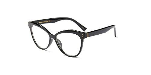 Muxplunt - Neu Vintage Katzen-Augen-Rivet Eyewear Feld-Frauen-Elegante optische Rahmen Brillen Brillengestell Oculos De Grau [hell schwarz]