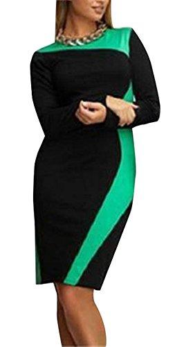 Frühling Damen Große Größe Kleid Freizeit Rundhals Langarm Knielang Kleider Mode Farbe Spleißen...