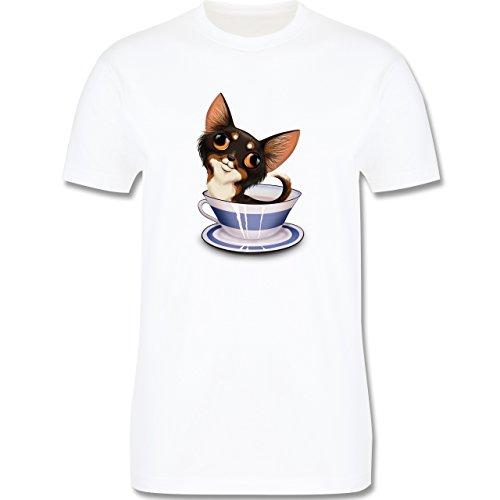 Hunde - Teacup Chihuahua - Herren Premium T-Shirt Weiß