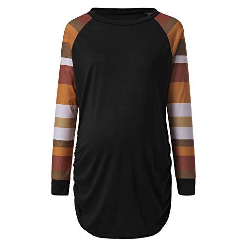 Amphia - Umstandsmode Pullover - Damen Schwangere Frauen gestreiftes Rundhals Langarm-Shirt(Schwarz,M)
