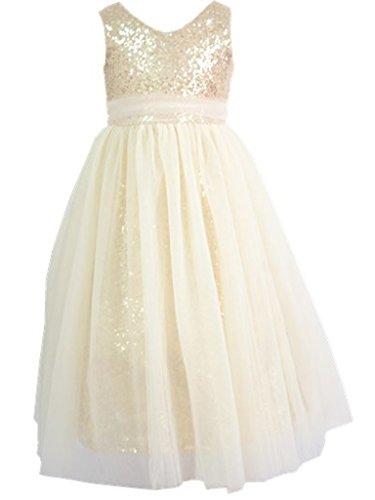 Bow Dream Kleid für Mädchen Sequinen Gold Elfenbein 2 Jahre