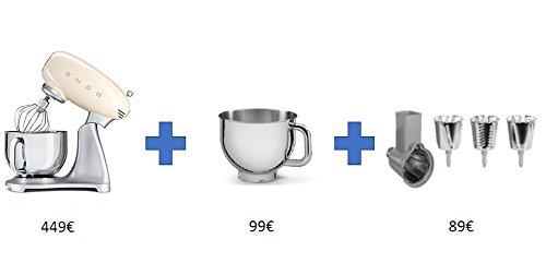 Smeg SMF21CREU 4,8 L Küchenmaschine Cream, BUNDLE: + extra zusätzliche Tasse+Reibe-Kit