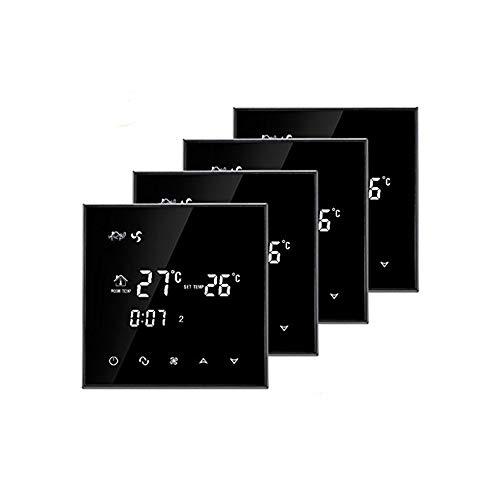 Fan-coil Unit (BEOK tgt70-ac Digital Klimaanlage Raumthermostat Thermostat mit Touchscreen für Zentraler Klimaanlage Fan Coil Temperatur Control Heizung und Kühlung mit Täglicher Timer Funktion, rauscharmes 85-260V 3A,, schwarz, 4Stück, schwarz, 230.00 voltsV)