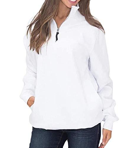 CuteRose Women's Stand Collar Zip Loose Pocket Trim Down Tops Pullovers Sweatshirt White M Aeropostale Zip