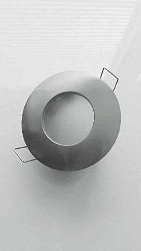 bad einbaustrahler ip65 out54 edelstahl geb rstet inkl 230v gu10 hochvolt fassung und gu5 3. Black Bedroom Furniture Sets. Home Design Ideas