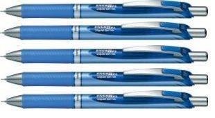 Pentel EnerGel Deluxe RTX Retractable Liquid Gel Pen,0.5mm, Fine Line, Needle Tip, Blue Ink /Blue Body/Value set of 5 (With Our Shop Original Product Description) by Pentel