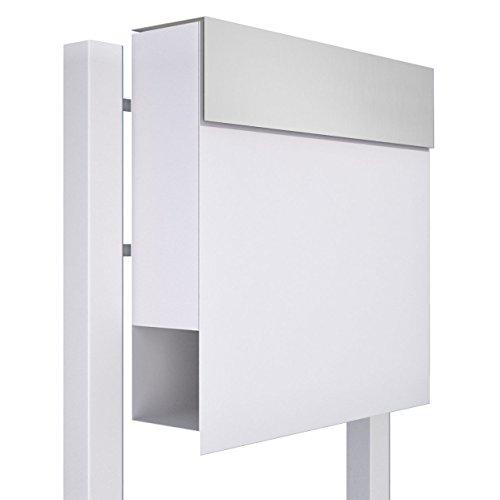 Standbriefkasten mit Zeitungsfach, Design Briefkasten Manhattan Stand Weiß/Edelstahl - Bravios