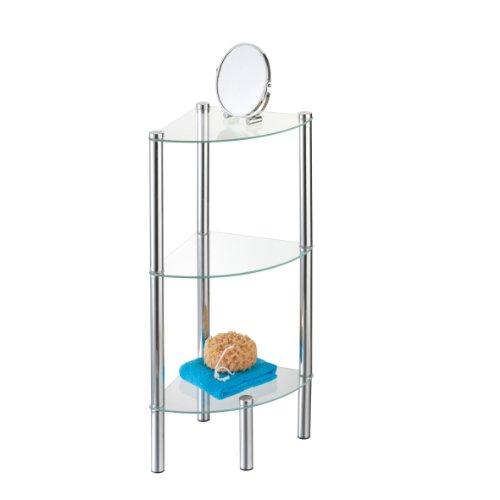 eckregal bad glas Axentia Bad 282133 Stand-Eckregal Solanio, verchromt mit 3 Glasböden, 30 x 30 x 77 cm
