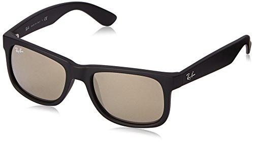 RAYBAN Unisex Sonnenbrille Justin, (Gestell: Schwarz, Gläser: Gold Verspiegelt 622/5A), Medium (Herstellergröße: 51)