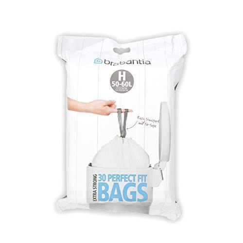 Brabantia PerfectFit Bags H Sacchetti per Spazzatura, 50/60L, Bianco, Dispenser da 30 Sacchetti