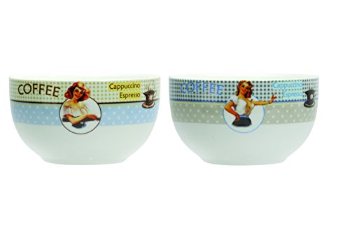 Novastyl 5186080 Lot de 6 Bols Fifties Porcelaine Multicolore 13 cl