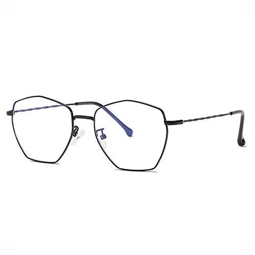 Easy Go Shopping Polygonal Metall Brillengestell Unisex Stilvolle klare Brillenbrille. Sonnenbrillen und Flacher Spiegel (Farbe : Schwarz)