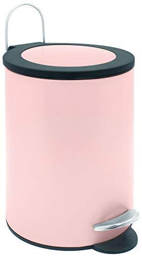 Sanwood 1008822 Treteimer FELINE rosé mit flachem Deckel, Bad-Abfalleimer 3 Liter, Abfalleimer mit...