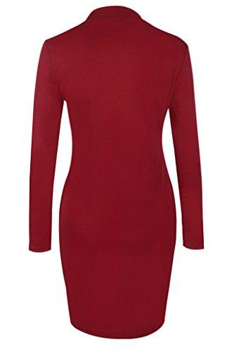 Smile YKK Rundhals Damen Hohe Schlitz Deko Pullover Pulli Oberteil Tops T-Shirt Long Sleeve Rot