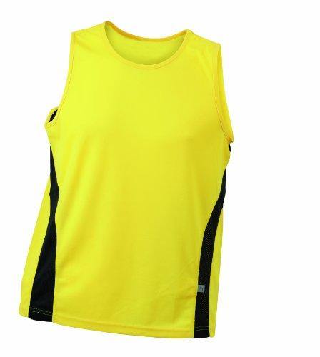 James & Nicholson - Shirt Running Tank, Maglia a maniche lunghe Uomo, Giallo (yellow/black), Medium (Taglia Produttore: Medium)