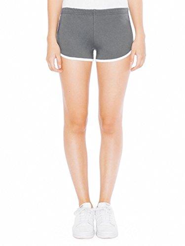 American Apparel Interlock Running Short - Asphalt / White / M (American Apparel Running Shorts)