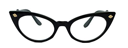 50er Jahre Katzenaugen Brille Cat Eye Modell Klarglas Mode-Brille ohne Sehstärke C95 (schwarz)