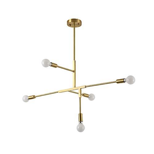 J.Lamp 5 Lichter Gold Modern Metall Pendelleuchten Hängelampe Deckenleuchten Kronleuchter Finish Fixture Unterputz für Cafe Bedroom Restaurant Bar -