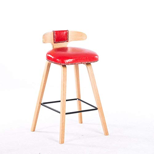 JYZ Personalisierter Komfort-Stuhl/Schemel, Fester hölzerner Barhocker/Niet-Öl-Wachs-Leder-Schemel/moderner minimalistischer Aufnahmestuhl,rot