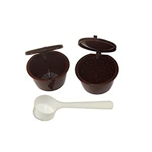Refillable Reusable Coffee Capsule Filter Cup for Dolce Gusto with White Plastic Spoon Brown