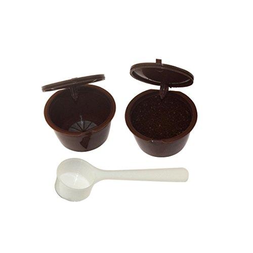 Nachfüllbar wiederverwendbar Kaffee Kapsel Filter Cup für Dolce Gusto mit Weiß Kunststoff Löffel braun