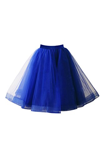 50er Kurz Retro Petticoat Rock Tutu Unterrock Ballett Blase Royal Blau onesize (Blau Rock Royal)