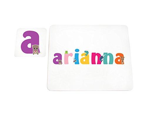 ianna-coasterandplacemat-15it Untersetzer und Platzsets mit Hochglanz personalisiert Mädchen Namen Arianna, mehrfarbig, 21x 30x 2cm (Personalisierte Tischdecke)