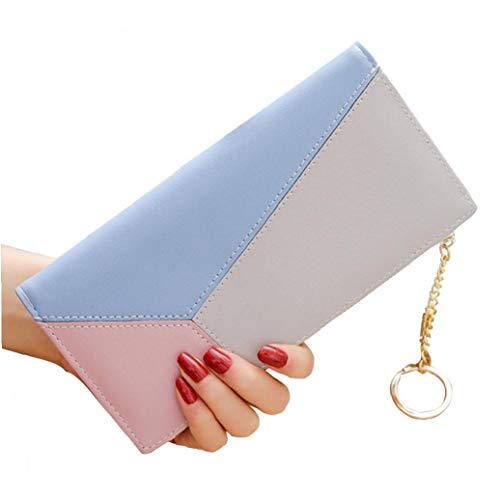 Frauen PU-Leder-Mappen-Reißverschluss-Stitching Wallet Lange Geldbeutel-Kupplungs-Dame Wristlet Lange Handtasche Handytasche (Blau) - Multi-kupplungs-geldbeutel
