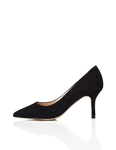 FIND Pumps Damen High Heels Aus Veloursleder, Schwarz (Black), 41 EU