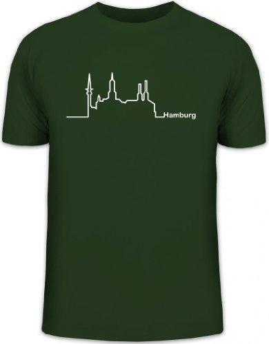 Shirtstreet24, Skyline Hamburg, Herren T-Shirt Fun Shirt Funshirt, Größe: XXL,dunkelgrün