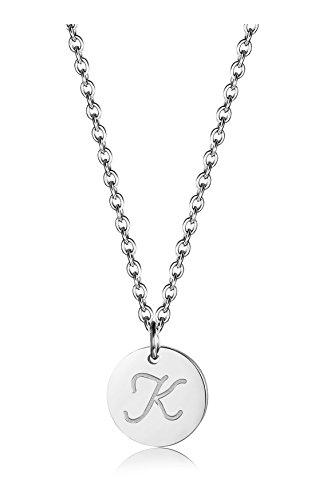 BE STEEL Edelstahl Halskette für Herren Damen Alphabet Halskette Initiale Kette Männer Buchstaben K Silberton 46+5CM