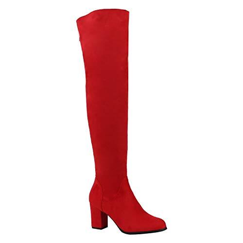 sche Damen Stiefel Profil Sohle Overknees Block Absatz Rot Zipper 37 Flandell ()