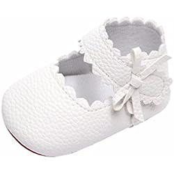 2018 Nueva Primavera Verano Bebé Recién Nacido Niñas Bowknot Zapatos de Suela Suave Zapatos Bebe Niña (0-6 Meses, Blanco)