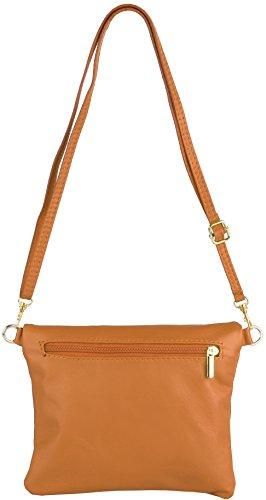 Emmy Accessori Katie Clutch / Evening Bag In Vera Pelle Bianco Cognac
