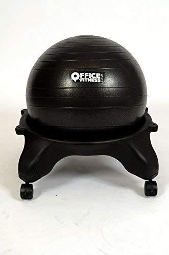 Ufficio Fitness Ball Chair Black–Pompa di gonfiaggio e Esercizio Dvd