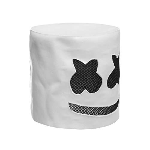 (DJ Latex Weiße Maske Modische Halloween Party Nachtclub Erwachsene DJ Marshmello Maske Cosplay Kostüm Helm)