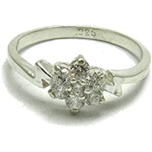 Sterling silber ring mit 7 runde KZ 925 Empress Größe 46 - 69
