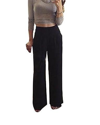 Minetom Femmes Casual Jambe Large Bas Évasé Pantalon Grande Taille Bouffant Elastique Extensible Palazzos Mousseline De Soie Sarouels Noir EU
