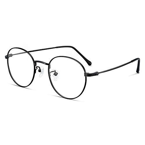 HAIBUHA Brille Reines Titan Vollbild Retro Brillengestell Rundes Gesicht Flacher Spiegel Unisex (Farbe : Schwarz)