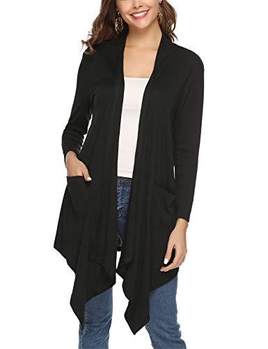 Abollria Gilet Femme Cardigan Femme Long Manches Longues Ouvert Poches Veste Longue Femme Outwear Gilet Irregulier Femme, Noir 3, M