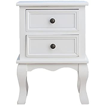 Cherry Tree Furniture Wood White Bedside Table 2-Drawers Cabinet (White)