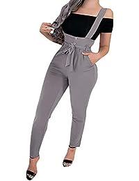 Monos Pantalones para Mujer Skinny Primavera PAOLIAN Monos Pantalones Mujer Largo Verano Pitillos con Cinturón Pantalones Peto Mujer Vestir Elegantes