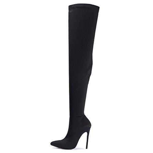 Damen Über das Knie Oberschenkel hoch Hacke Stiletto Spitz Punkt LYCRA STRECKEN Elastisch Schuhe Breite Passform Schlank Stiefel Schwarz (Hohe Rote Stiefel Oberschenkel)